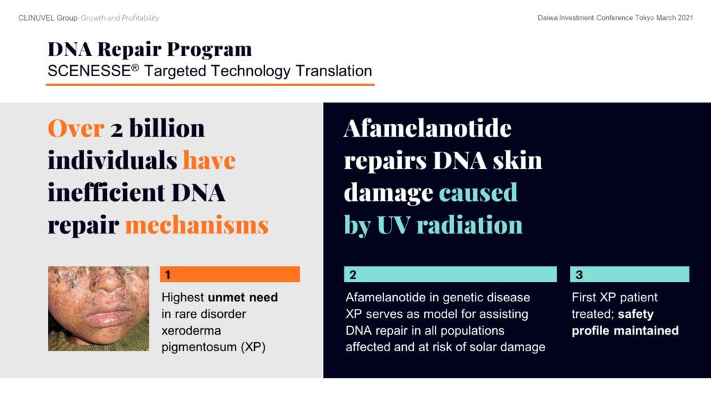 We are working to confirm the role of SCENESSE® in repairing DNA which has been damaged by exposing skin to ultraviolet light. Here the clinical focus is twofold: on both patients with the rare genetic disorder xeroderma pigmentosum (XP) and on healthy volunteers. Last year we saw the first XP patient, with the XPC complementation factor deficient, receiving treatment. This was well tolerated.   Given DNA damage and the risk of skin cancer affects almost all fair-skinned individuals on the planet, the relevance of the DNA Repair Program is clear.